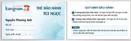 Thẻ bảo hành túi độn vĩnh viễn tại Kangnam1